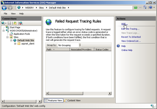 IIS 7 0 : Enabling and Configuring FRT - Tracing a Specific