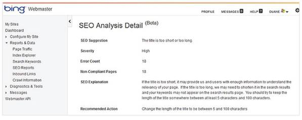 Bing Webmaster SEO reports tell you if your site isn't compliant with SEO best practices and how to fix it.