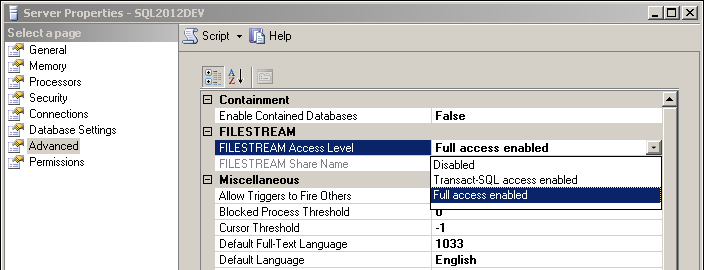 Selecting the FILESTREAM configuration level in SQL Server Management Studio.
