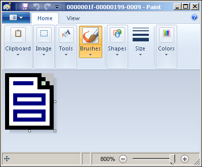 Examining unstructured FILESTREAM content in Paint.