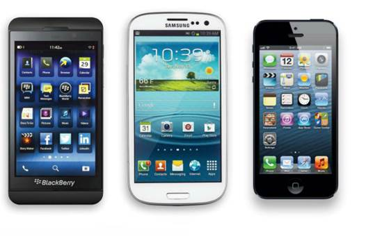Phone comparison: The design of the BlackBerry Z10 makes it look a lot like other Samsung and Apple smartphones.