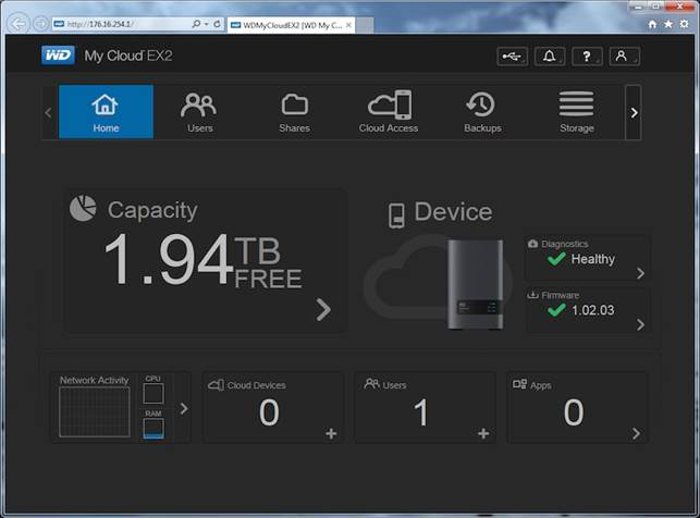 The WD My Cloud Dashboard is informative and easy to use