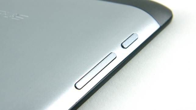 Asus has located the power button and the volume rocker on the left edge near the top of the tablet