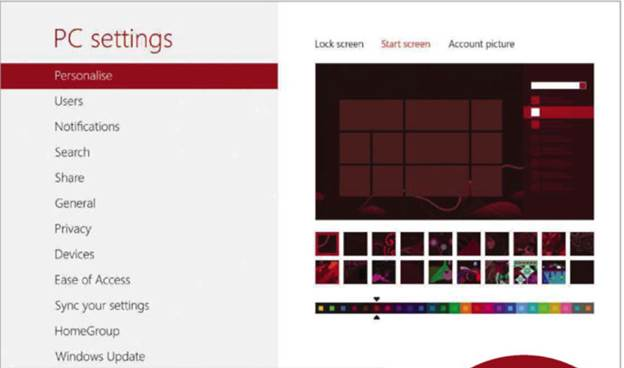 Built in options are limited, but ou can customize the Start screen from Windows 8's Settings