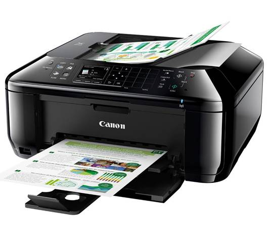 The front of the scanner's sloping lid houses the control panel for this multi-function device.