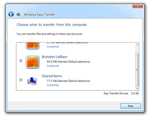 Windows Easy Transfer wizard offers selective control over the files  and folders that will make the journey from one PC to another