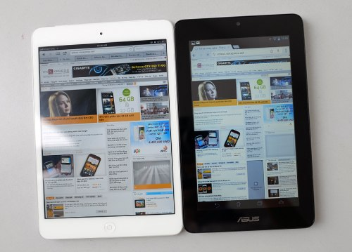 The Memo Pad 7 has higher pixel density but the iPad Mini's display quality is better.