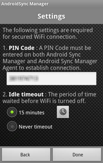 Android Sync Manager Agent Setup.