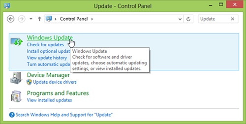 Using Control Panel to access Windows Update