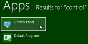 Control Panel on the Start screen