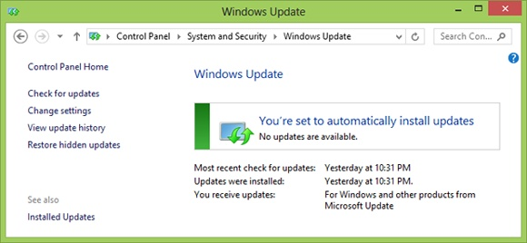 The Windows Update configuration window