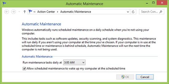 Change Automatic Maintenance options to adjust time at which Windows Update looks for new updates