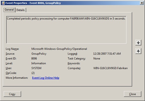 This figure shows the General tab of a standard Group Policy event in Event Viewer.