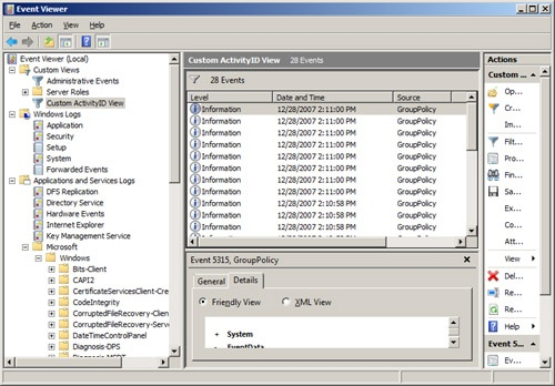 The custom view in Event Viewer isolates all of the events related to a single ActivityID.