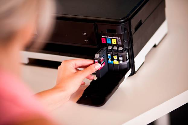As usual with Brother, there is an easily accessible compartment on the front of the unit for inserting the four ink cartridges covering black, cyan, magenta and yellow