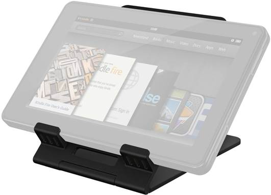 The iKlip attaches an iPad to the side of a mie stand and can be positioned vertically or horizontally