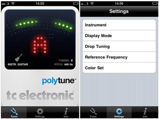 PolyTune supports dropped tunings, has two metering modes and a selectable reference frequency, and it works with bass, too