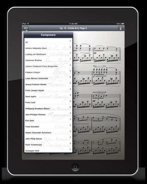 An iOS device can help you locate, store, and organize thousands of pages of sheet music
