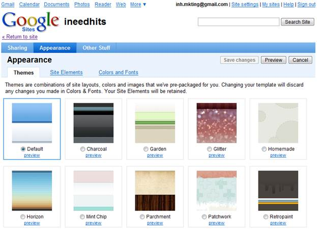 Basic Themes in Google sites