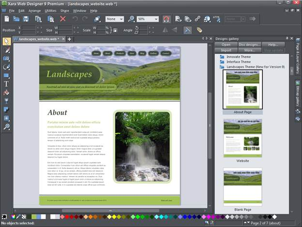 Because of its graphic nature and the background it sprang from, Web Designer 9 has a range of rudimentary drawing and effects tools, making it a more complete product than many of its competitors