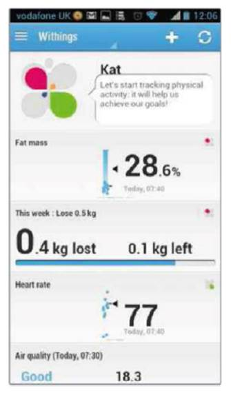 The Health Mate app works with the scales in order to show fat mass, heart rate and weight loss
