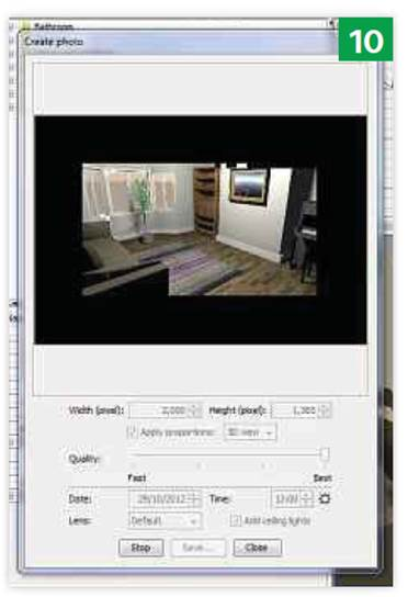 Sweet Home 3D's standard 3D view looks basic, but it can generate higher quality images with shadows and reflections.