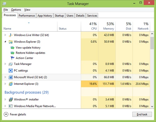 The Windows 8 Task Manager Processes tab