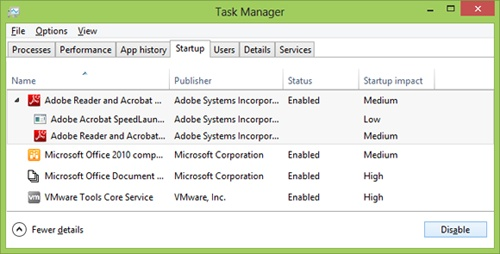 The Windows 8 Task Manager Startup tab