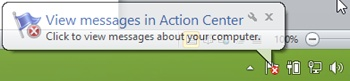 A Windows Action Center notification