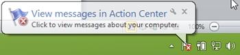 A Windows Action Center notification