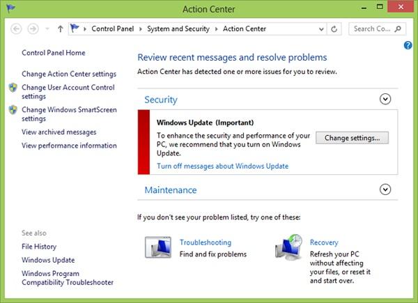 Windows 8 Action Center