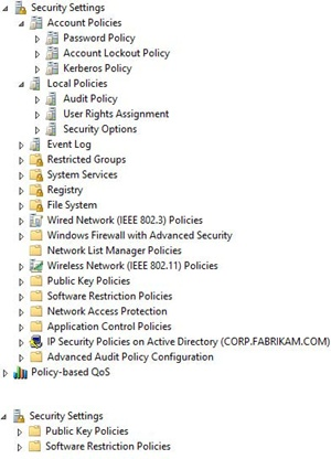 Group Policy security settings for computers (above) and users (below).