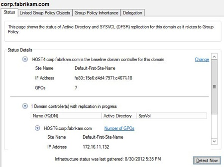 Viewing the status of SYSVOL replication to monitor Group Policy health.