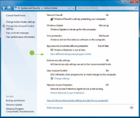 Implementing Security in Windows 7 : Check Action Center for