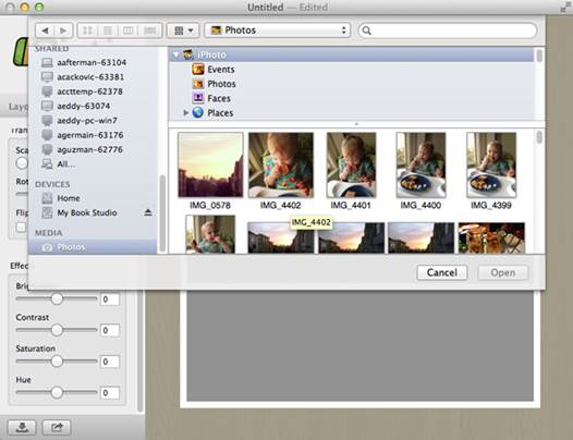 You can drag photos from iPhote or Aperture, or scroll all the way down in the open-file dialog for the Media browser.