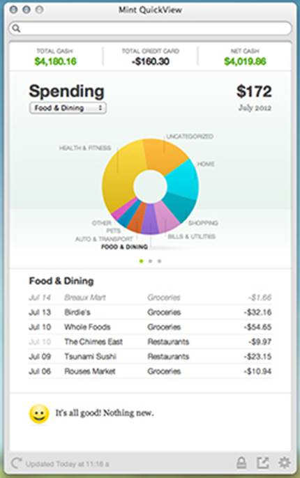 Mint QuickView lets you scope-out all of your essential financial info with a glance.