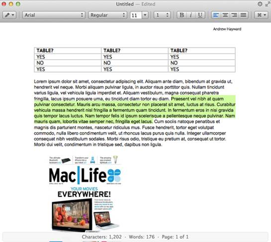 You can create tables with ease, but saving to a Word doc drops the formatting.