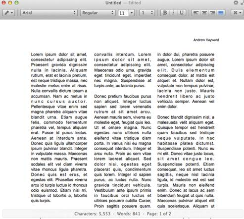Columns, live word count, and header and footer support are all helpful features in Write 2.