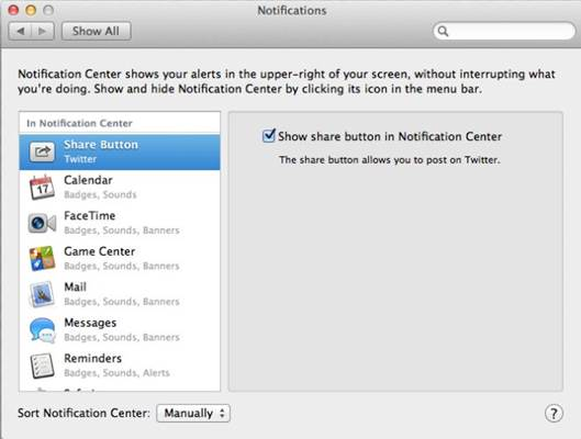 Reorganize notification center