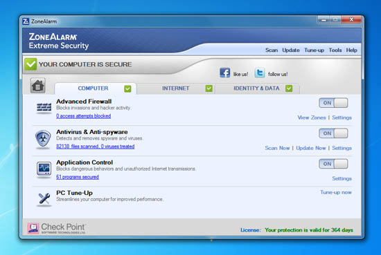 + ZoneAlarm security app is available in full Window applications