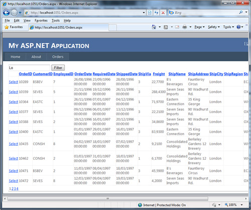 creating a web application with vb 2010 with navigation and data