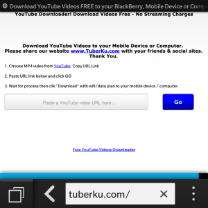 Tuberku.com on BlackBerry 10 browser