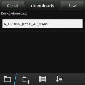 BlackBerry 10 Download window