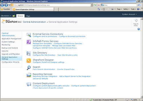 SharePoint 2010 Access The InfoPath Form Services Options Browser
