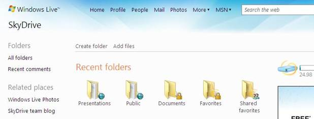 By default SkyDrive comes with three different folders: Documents, Pictures and Public