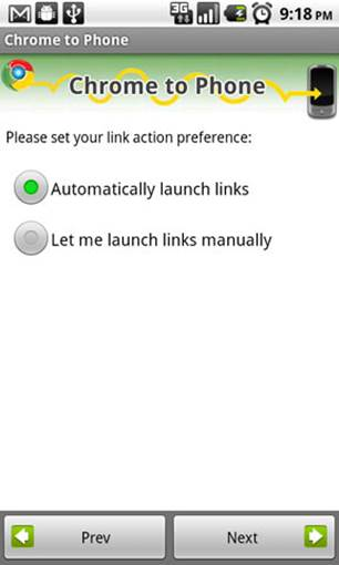 The last step in setting up the Chrome to Phone app is the link action preference. By default, this is set to automatically launch links.