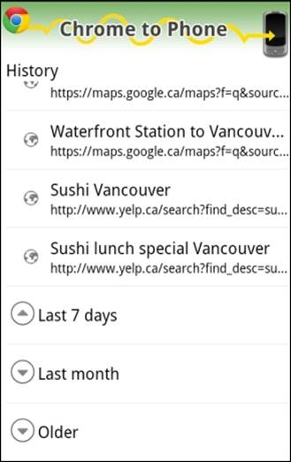 Opening the Google Chrome to Phone application presents a straightforward History screen.
