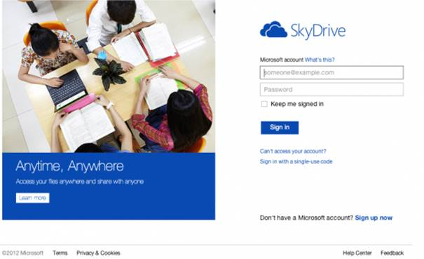 1. SkyDrive account