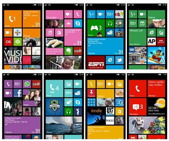 Windows Phone 8 uses Live Tiles to give you up-to-date information at a glance.